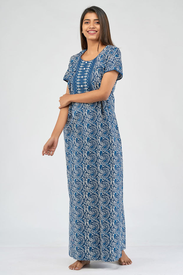 All over paisley printed nighty - Blue