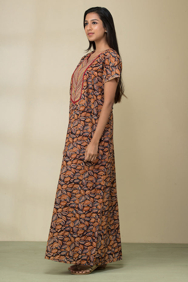 Kalamkari Nightwear – Mustard - Maybell Womens Fashion