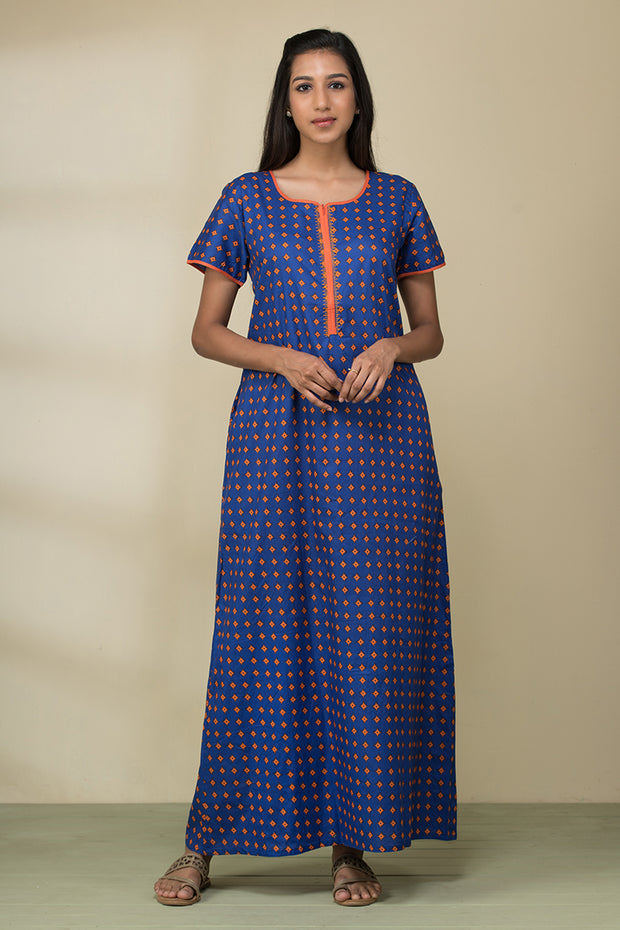 All over buta printed nightwear – Cobalt blue base with orange accent - Maybell Womens Fashion