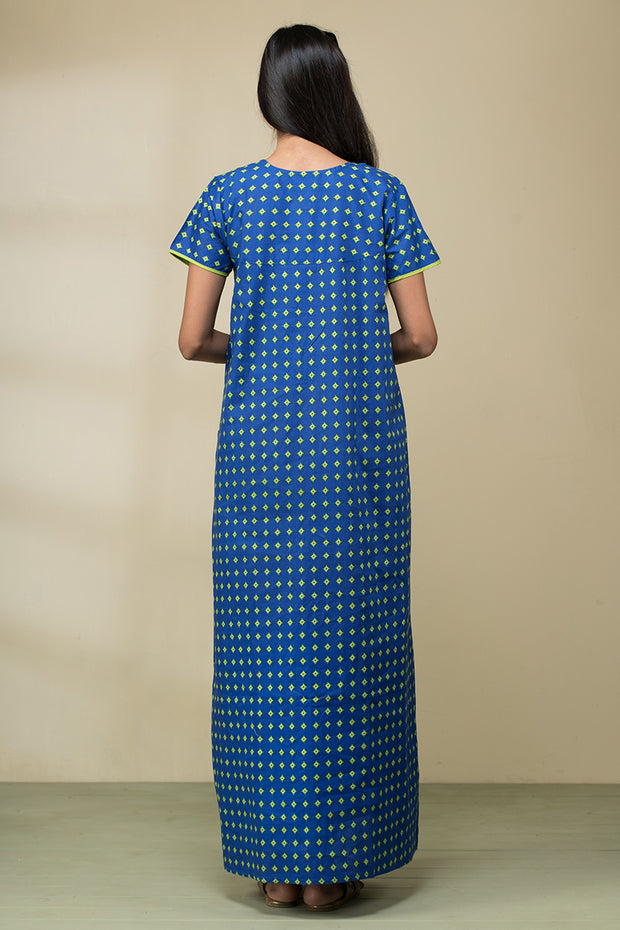 All over buta printed nightwear – Cobalt blue base with green accent