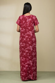 All over abstract sky printed nightwear –Maroon