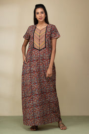 Kalamkari Nightwear –Red - Maybell Womens Fashion