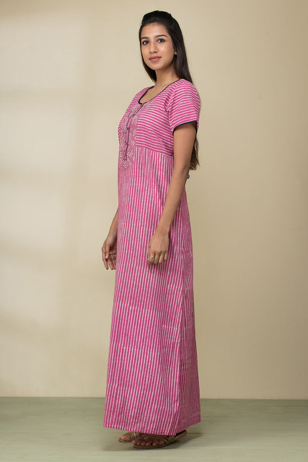 Striped Printed Cotton Nightwear –Pink - Maybell Womens Fashion