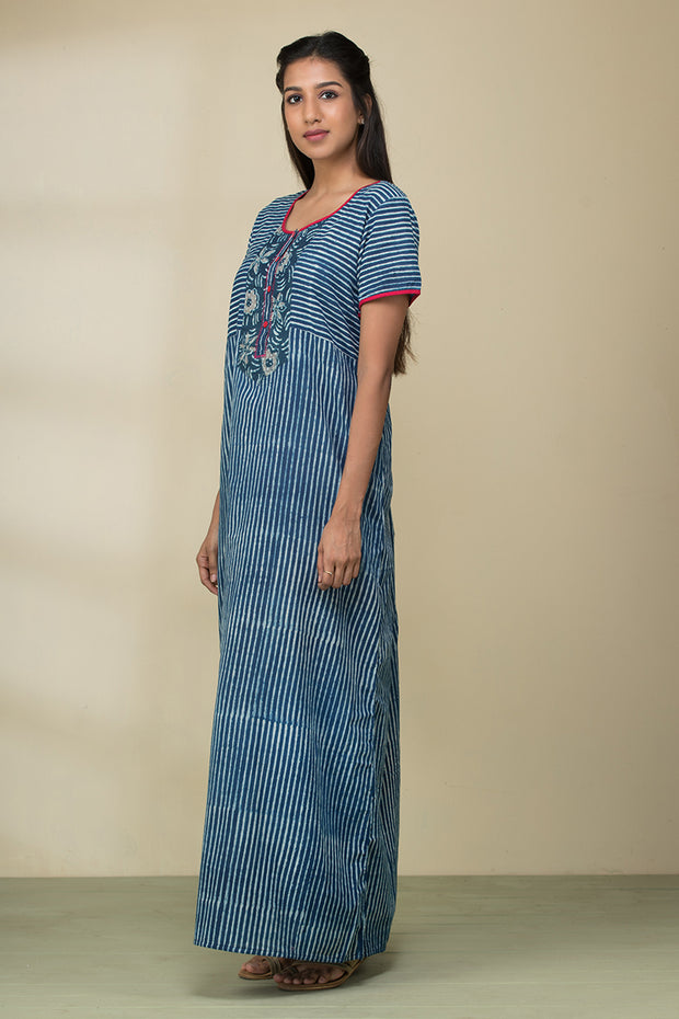 Striped Printed Cotton Nightwear –Blue - Maybell Womens Fashion