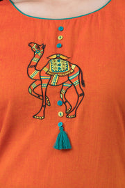 Camel embroidery kurta with tassels and tie up - Pink