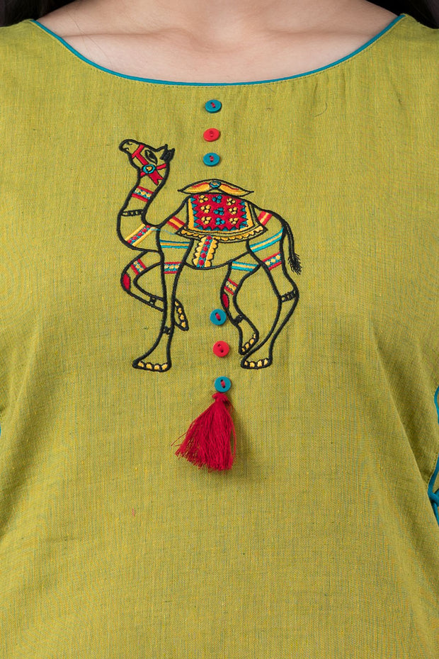 Camel embroidery kurta with tassels and tie up - Green