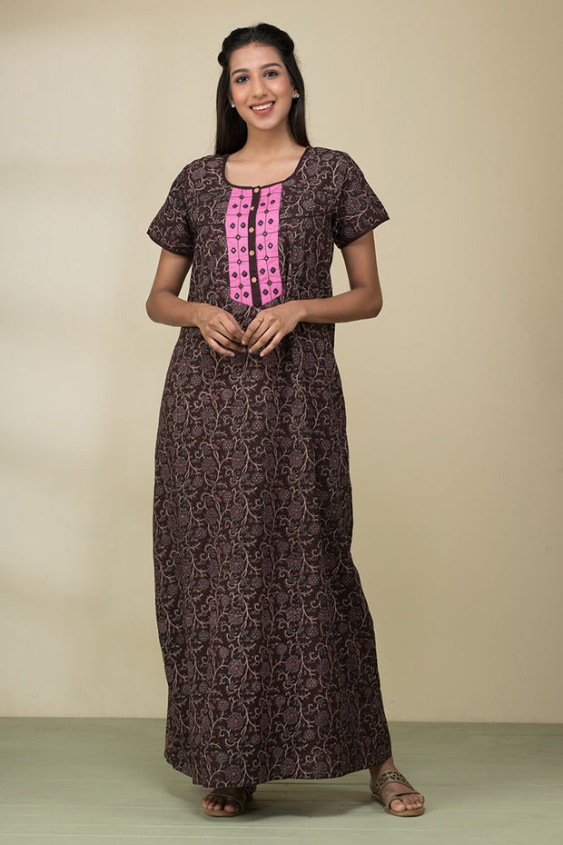 Floral Printed Kalamkari Nightwear – Mahogany - Maybell Womens Fashion