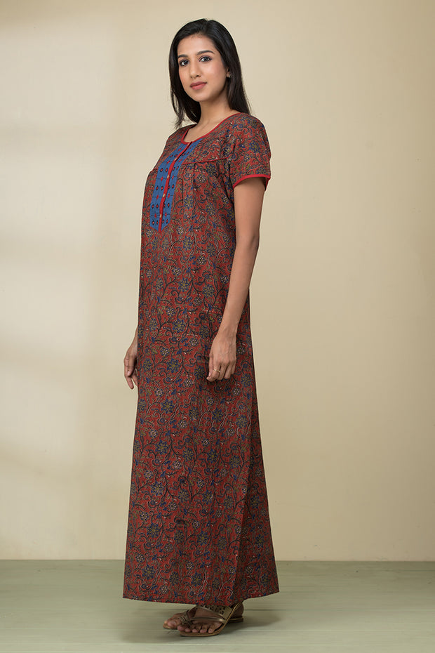 Floral Printed Kalamkari Nightwear – Brick red - Maybell Womens Fashion