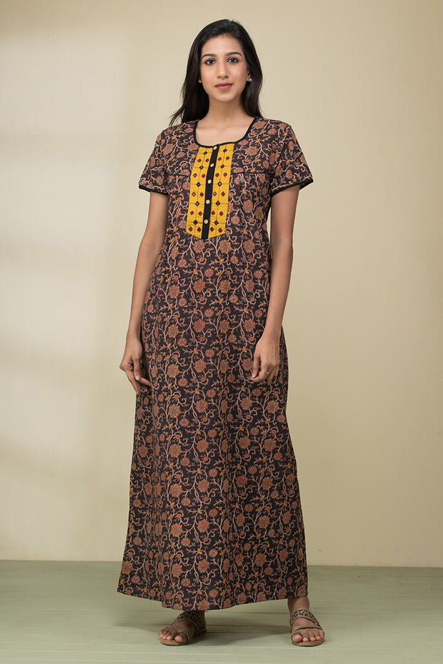 Floral Printed Kalamkari Nightwear – Black - Maybell Womens Fashion