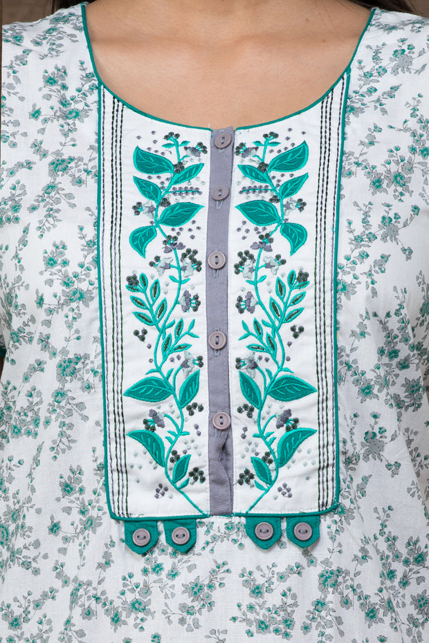 Floral printed Cotton Nightwear –white base with green accent - Maybell Womens Fashion