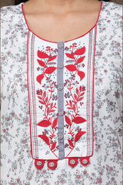 Floral printed Cotton Nightwear –white base with red accent - Maybell Womens Fashion