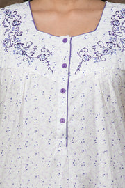 All over floral printed nightwear –White base with purple accent