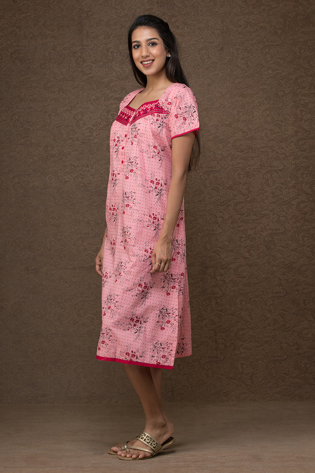 All over floral printed nightwear –Pink - Maybell Womens Fashion