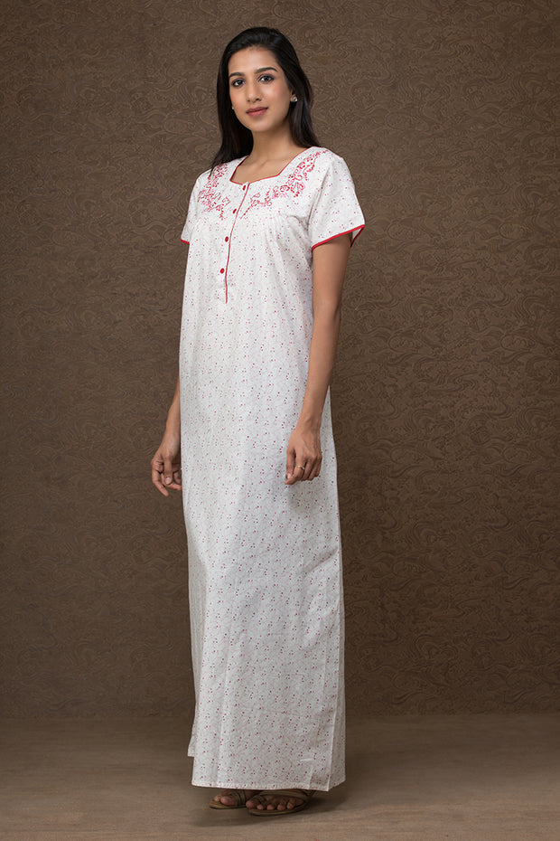 All over floral printed nightwear –White base with red accent - Maybell Womens Fashion