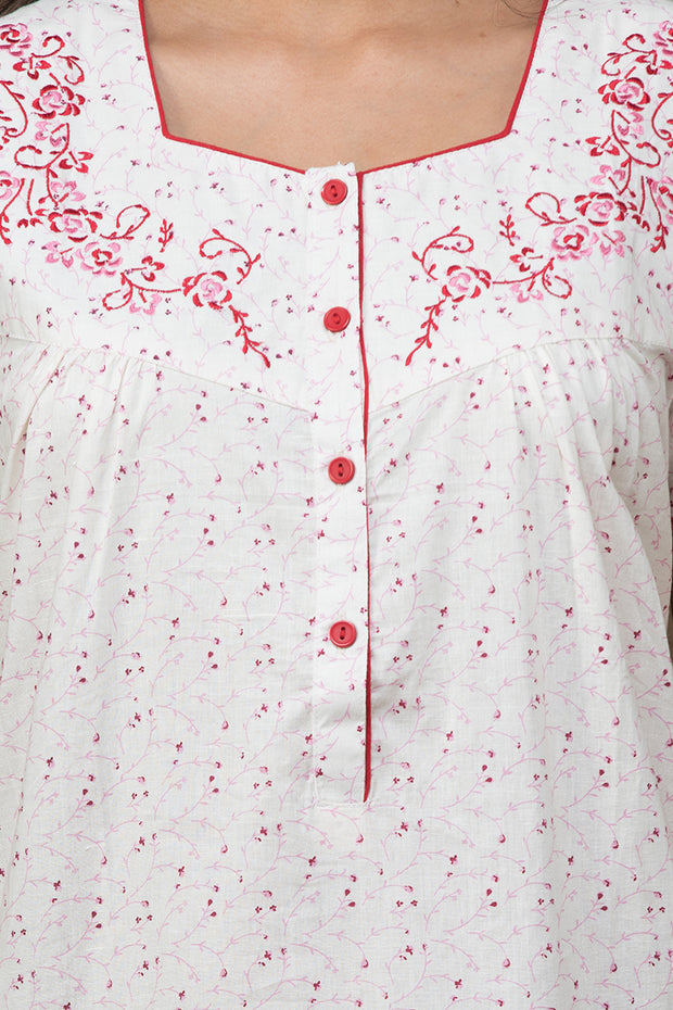 All over floral printed nightwear –White base with red accent