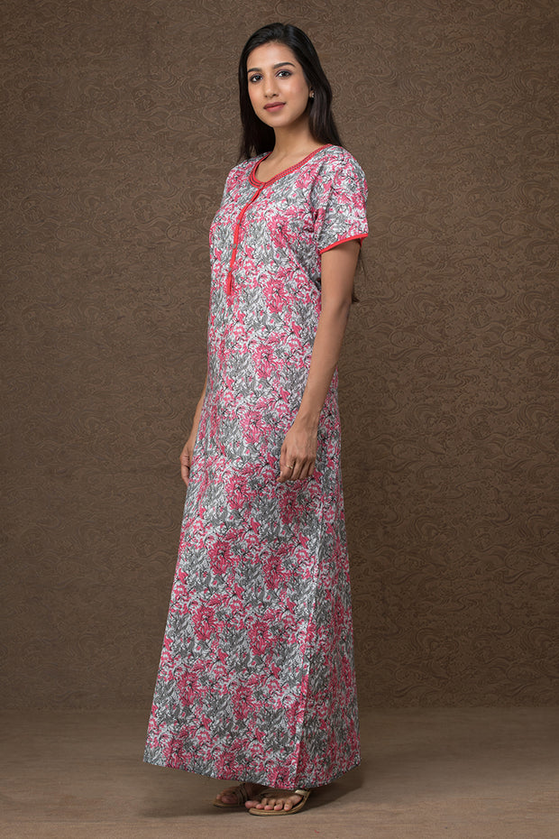 All over floral printed nightwear –White base with Pink accent