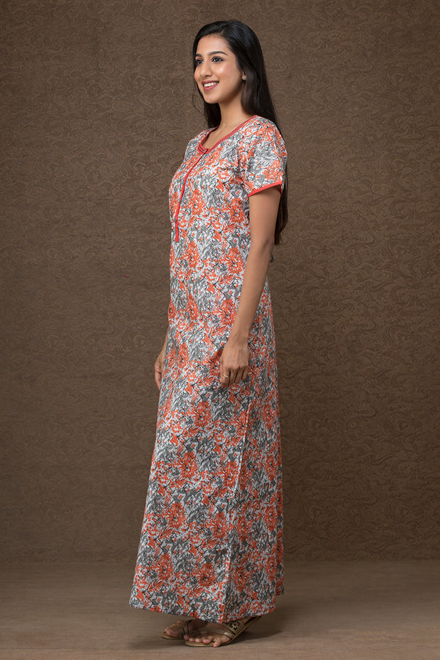 All over floral printed nightwear – White base with orange accent