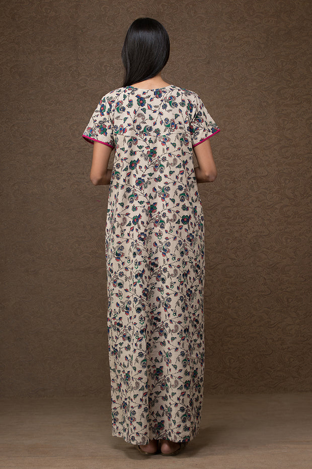 Floral printed Cotton Nightwear – white base with Blue & Red accent - Maybell Womens Fashion