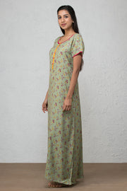 All over floral printed nightwear –Sage green - Maybell Womens Fashion
