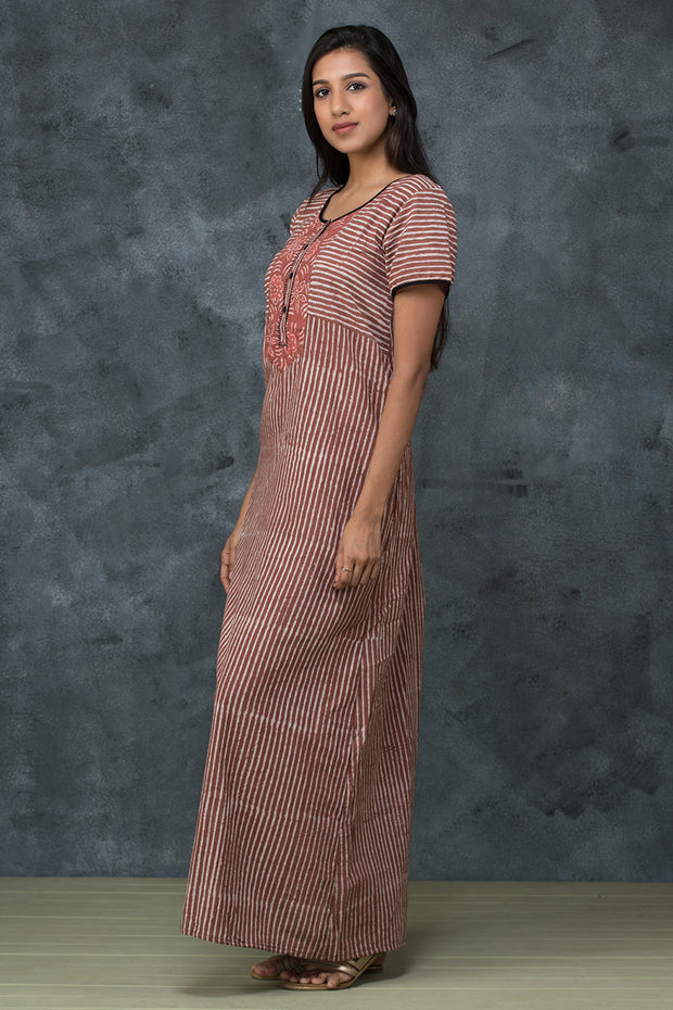 Striped Printed Cotton Nightwear –Brown - Maybell Womens Fashion