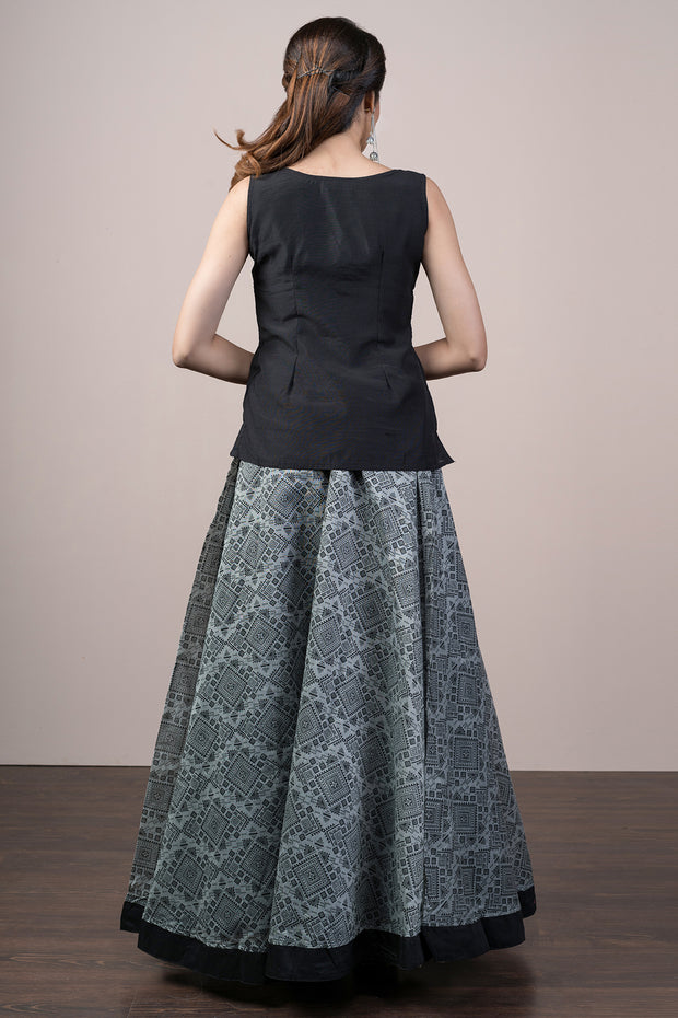 Embroidered Top & Printed Skirt Set - Black & Grey - Maybell Womens Fashion