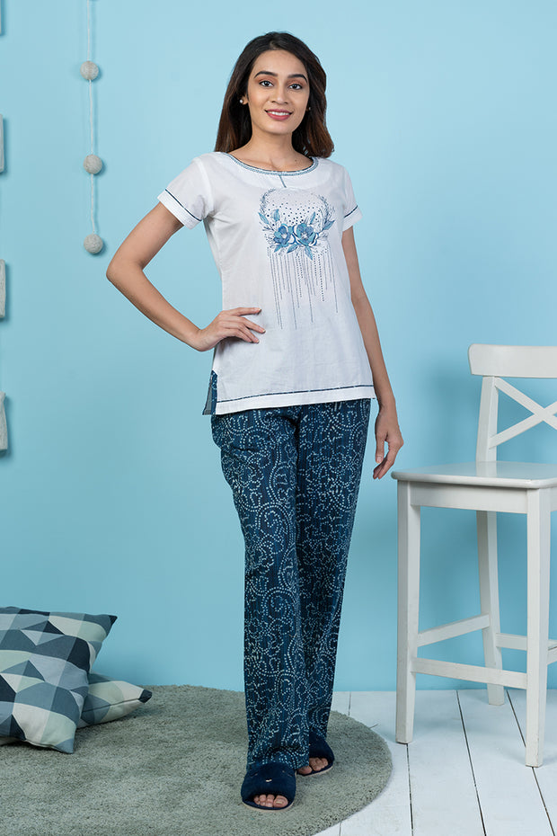 Placement Floral Printed Top & All over Printed Bottom Pyjama Set  – Blue - Maybell Womens Fashion