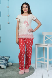 Ikat Printed Pyjama Set– Red - Maybell Womens Fashion