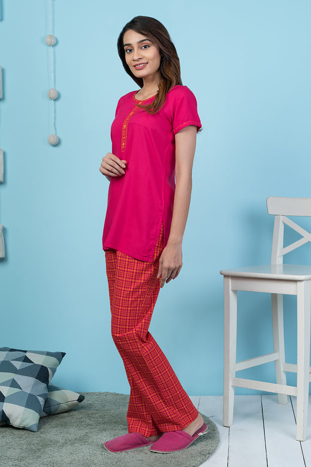 Tone on Tone Checkered Pyjama Set– Pink - Maybell Womens Fashion