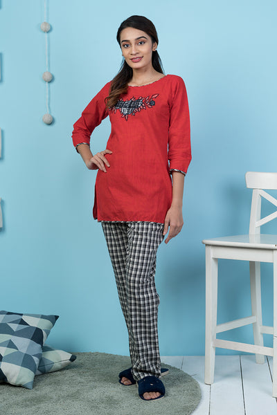 Checkered Pyjama Set– Red - Maybell Womens Fashion