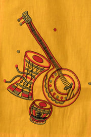 Maybell-Musical instruments embroidered kurta -Olive green and rust orange3