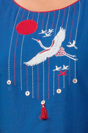 Japanese crane embroidered kurta - Blue-1