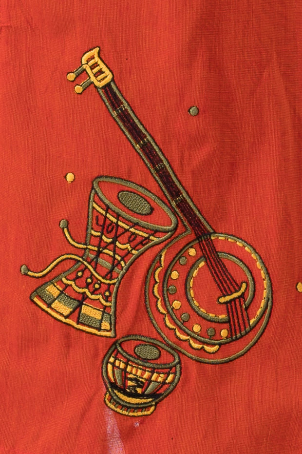 Maybell Musical instruments embroidered kurta -Olive green and mustard3
