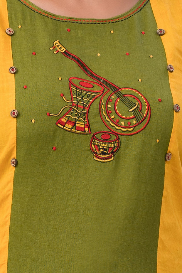 Maybell-Musical instruments embroidered kurta -Olive green and rust orange4
