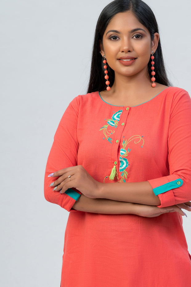 Maybell-Floral embroidered kurta - Peach-1