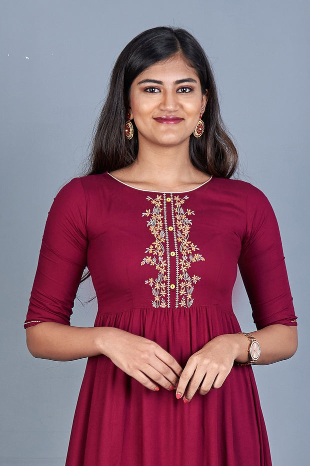 Solid Embroidered Dress - Burgundy