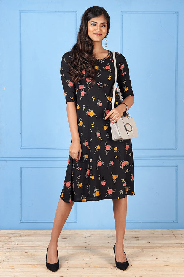 All Over Floral Printed Dress - Black