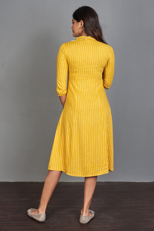 Pinstripes Printed Dress - Yellow