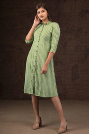 Pinstripes Printed Dress - Green