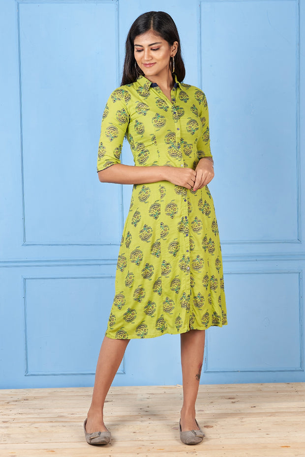 All Over Motif Printed Dress - Green