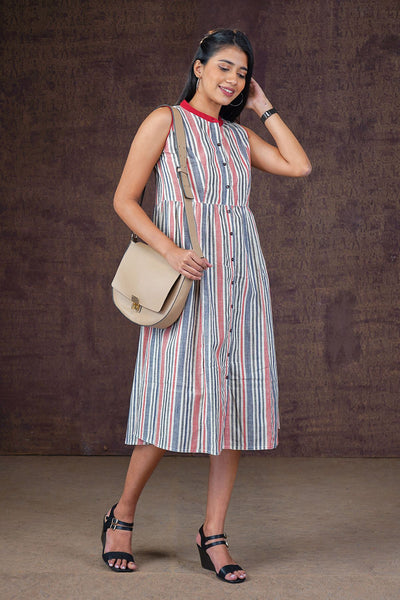 Multicolored Striped Dress - Red