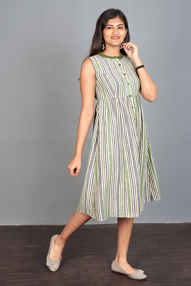 Multicolored Striped Dress - Green & Grey