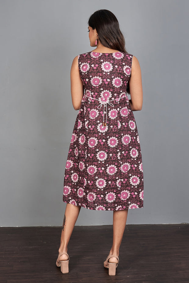 All Over Floral Printed Dress - Maroon