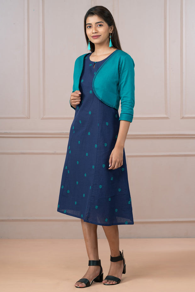Classy Dobby Dress & Embroidered Jacket Dress - Navy & Sea Green