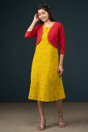 Classy Dobby Dress & Embroidered Jacket Dress - Yellow & Maroon