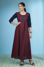 Elegant Pinstriped Maxi Dress - Maroon