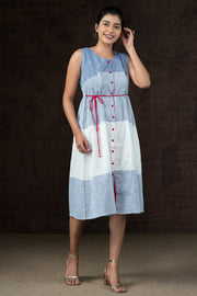 Nautical Pinstriped Dress with waist tie up - Blue