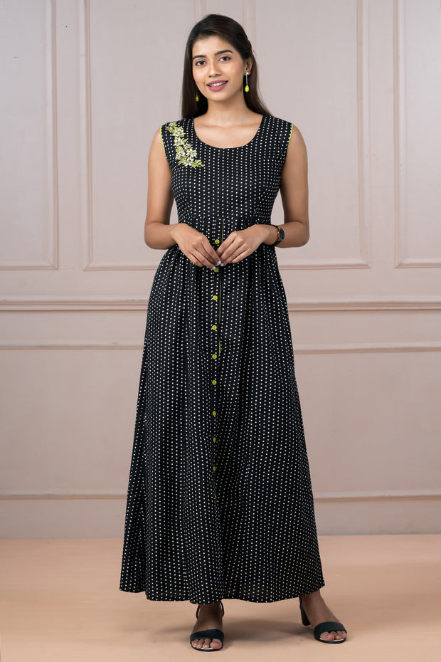 All Over Polka Dot Printed & Floral Embroidered Dress - Black