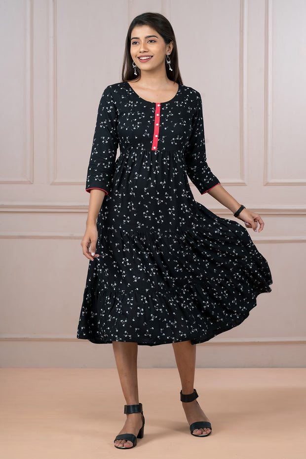 Ditsy Floral Printed Dress - Black