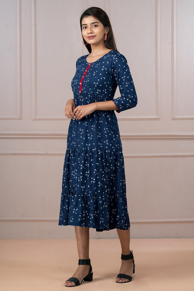 Ditsy Floral Printed Dress - Navy Blue