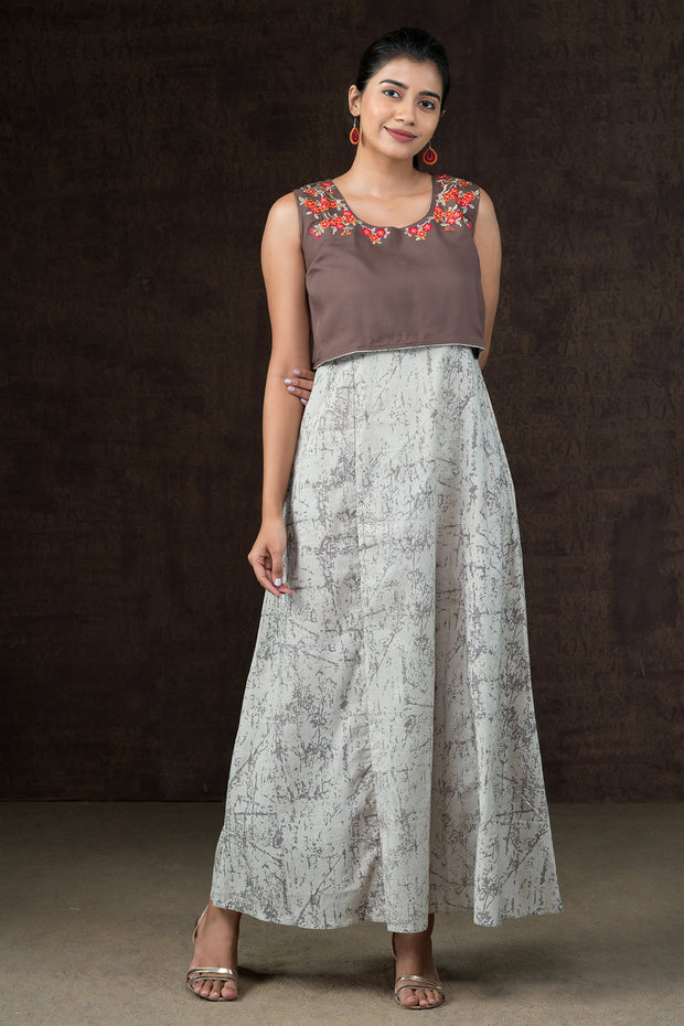 Contrast Embroidered Overlay Maxi Dress - Brown